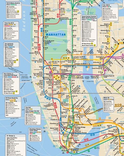 Le métro dessert principalement Manhattan du Nord au Sud