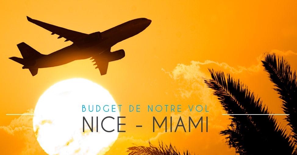 Budget pour notre vol vers Miami