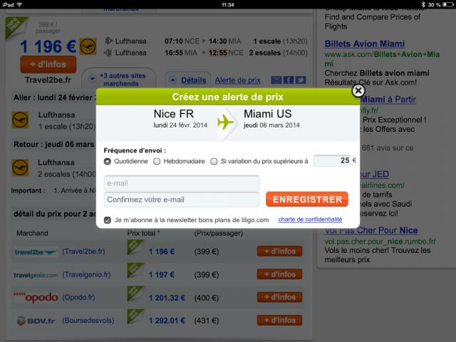 L'alerte de prix par email pour acheter les billets d'avion au meilleur moment
